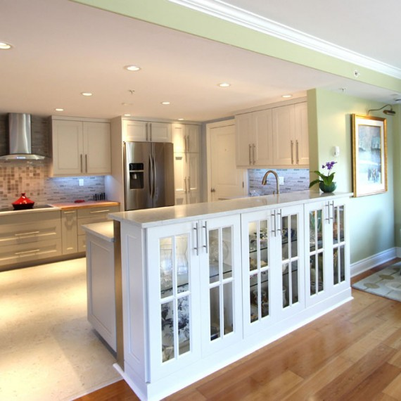 Bright, airy and clean. This kitchen may not have any windows but it seems to radiate light.